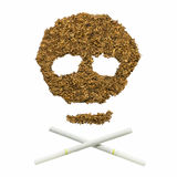 Skull made by cigarette and tobacco Royalty Free Stock Photos