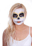 Skull makeup on blonde young girl Stock Photography