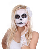 Skull makeup on young girl Royalty Free Stock Image