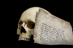 Skull and manuscript Stock Photo