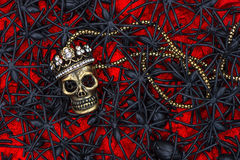 Skull with many black spider. halloween background. Sugar skull with many black spider and beetle over red. halloween background Royalty Free Stock Photos