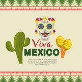 Skull mask with cactus and maracas to event celebration. Vector illustration stock illustration