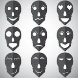 Skull mask emotion set  Royalty Free Stock Photo