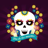 Skull mask with flowers to day of the dead event. Vector illustration vector illustration