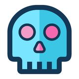 Skull Medical Icon Filled Line Pink Blue Color royalty free illustration