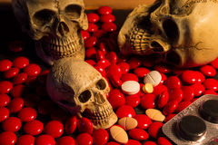 Skull and medicine Royalty Free Stock Images