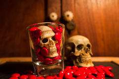 Skull and medicine Stock Photography