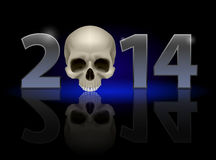 2014 with skull. 2014: metal numerals with skull instead of zero having weak reflection. Illustration on black background Royalty Free Stock Photography