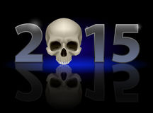2015 with skull. 2015: metal numerals with skull instead of zero having weak reflection. Illustration on black background Stock Illustration