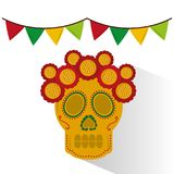 Skull mexican flower decoration garland colors Stock Image