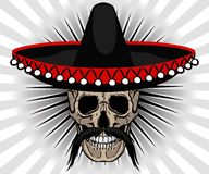 Skull Mexican style with sombrero and mustache Stock Photos