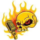 Skull with microphone. Vector illustration of skull with microphone and flame Stock Image
