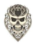 Skull mix heart vintage tattoo. Royalty Free Stock Photography
