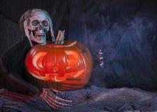 Skull monster and halloween pumpkin Stock Images