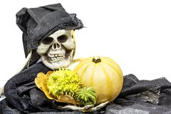 Skull monster and pumpkin. Halloween black dressed skull monster holding a pumpkin and horned melon isolated on white royalty free stock photos