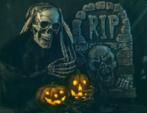 Skull monster. And pumpkins halloween decoration Royalty Free Stock Photos