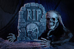 Skull monster and tombstone. Halloween decoration Royalty Free Stock Images
