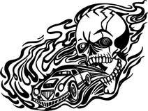 Skull and motor. Vector illustration. Royalty Free Stock Photos