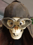 Skull motorcycle goggles and helmet vintage Stock Image