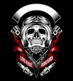 Skull with motorcycle helmet and bandana - Vector vector illustration