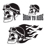 Skull in motorcycle helmet with fire. Born to ride. Retro vector design graphic element, emblem, logo, insignia, sign, identity, logotype, poster. T-shirt Royalty Free Stock Images