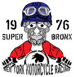 Skull Motorcycle New york Racing Man T shirt Graphic Design Stock Image