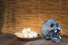 Skull and Mould on food. Bread with mildew. Rotten food, bread, Stock Image