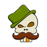 Skull With Moustache And a Green Hat Royalty Free Stock Photos