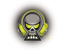 Skull Music. An abstract skull wearing headphones Royalty Free Stock Photo