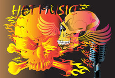 Skull and music. Creative design Illustration TATTOO ROCK heat of the fire and death Royalty Free Stock Photos