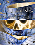 Skull and music note.  Skull in fire flames. Color abstract background, computer collage. Stock Images