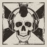 Skull music punk vector vintage grunge design. Vector illustration of human skull with mohawk listening to music using headphones. Skull music punk vintage vector illustration