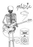Skull music sketch Stock Photography