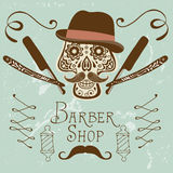 Skull with mustache and hat. Retro style hand drawn graphics for barber shop emblem Stock Photography