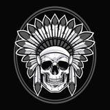 Skull of Native American Indian Warrior. Vector Illustration Royalty Free Stock Photo