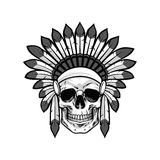Skull of Native American Warrior. Vector Illustration Royalty Free Stock Photos