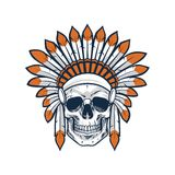 Skull of Native Indian American Warrior Royalty Free Stock Images