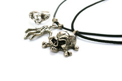 Skull necklace and ring Stock Images