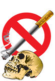 Skull and no smoking Royalty Free Stock Photography
