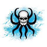 Skull with octopus tentacles. Skull with octopus tentacles and blue water splash Stock Photos