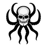 Skull with octopus tentacles. Skull with octopus tentacles on a white background Stock Photo