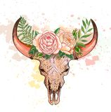 Skull Of A Cow With Horns, Decorated With Flowers Royalty Free Stock Images