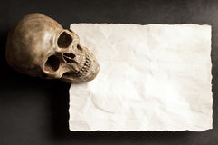 Skull with old paper Royalty Free Stock Photo