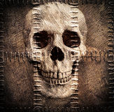 Skull on old sacking Stock Image