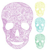 Skull with ornament. The silhouette of a skull with a primitive floral pattern Royalty Free Stock Photos
