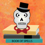 Skull over  book of spells Royalty Free Stock Photography