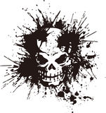 Skull and paint,. I designed the skull and scattered paint Stock Photos