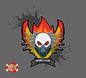 Skull in paintball  mask, paintball guns. Wings, arms and flame. Stock Photos