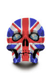 Skull painted in the colors of the Union Jack isolated on white background Stock Images