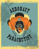 Skull parachutist badge. Vector illustration in retro style skull dead parachutist in helmet pilot parachute should be grunge head Royalty Free Stock Images